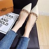 網紅單鞋女2020新款時尚尖頭淺口鉚釘仙女鞋秋季正韓平底女 【Ifashion·全店免運】