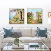 風景油畫餐廳臥室裝飾畫客廳背景墻雙聯畫玄關掛畫床頭畫藝術壁畫HD【新店開張8折促銷】