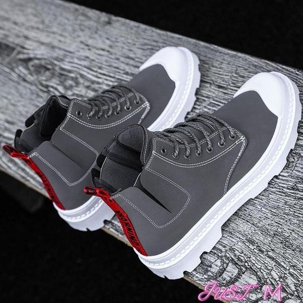 馬丁靴2021新款秋季馬丁靴男高幫英倫百搭切爾西靴韓版潮流中幫潮鞋冬季 JUST M