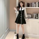 女神網紅穿搭秋冬新款減齡去青春朝氣黑白撞色領帶單排扣裝飾連衣裙T121C.胖胖唯依