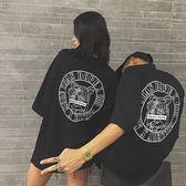 全館八折最後兩天-夏季新款正韓學生INS潮人時尚哥特字母美少女印花寬鬆短袖T恤情侶