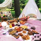 野餐籃手提戶外野餐籃子保溫編織籃帶蓋田園野餐用品【左岸男裝】