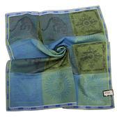 VERSACE 凡賽斯 時尚太陽logo圖騰彩色大格紋領帕巾(藍/綠)989017-5