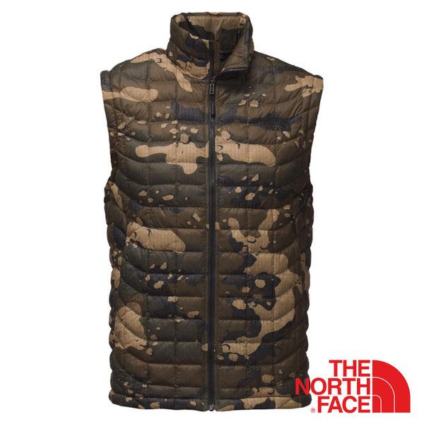 【美國 The North Face】男 ThermoBall暖魔球保暖背心『橄欖綠印花』NF0A365Z 鋪棉背心 防潑水