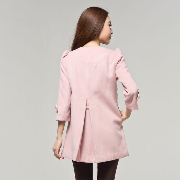 ★韓美姬★中大尺碼~蕾絲拼接毛呢大衣外套12985(XL)