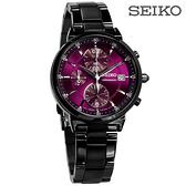 SEIKO 精工 / 7T92-0VN0P.SNDV25P1 / 三眼計時 日期 日本機芯 不鏽鋼手錶 紫x鍍黑 36mm