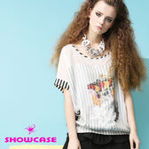 【SHOWCASE】俏麗條紋印花 寬版連袖雪紡上衣(白)