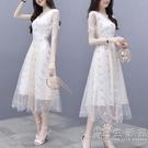 赫本風雪紡洋裝女裝2021新款潮夏季網紗小白裙修身顯瘦碎花裙子 小時光生活館