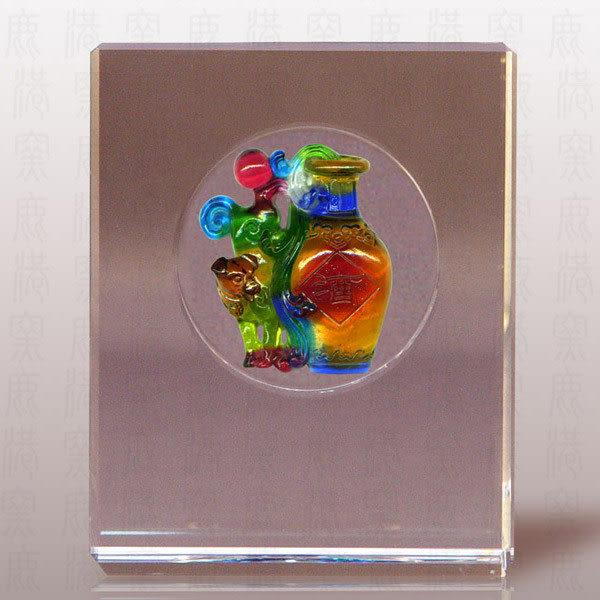 鹿港窯~居家開運L水晶鑲琉璃~永久財旺◆附精美包裝◆附古法制作珍藏保證卡◆免運費送到家
