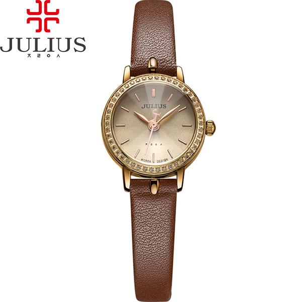 JULIUS 聚利時 璀璨華爾滋鑽飾真皮腕錶-復古咖啡/23mm 【JA-966E】