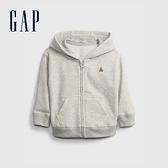 Gap嬰兒 時尚輕薄透氣連帽外套 671417-雜灰色