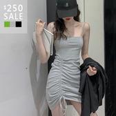 SISI【D9062】春夏韓版性感百搭約會修身顯瘦包臀平領細肩帶吊帶抽繩皺褶短裙連衣裙連身裙洋裝