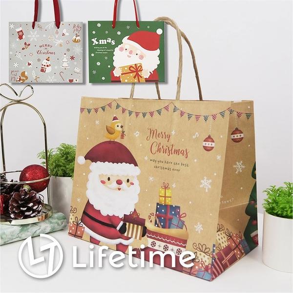 ﹝聖誕手提紙袋3K﹞正版禮物包裝 提袋 聖誕老公公 雪人 聖誕禮物〖LifeTime一生流行館〗J02007