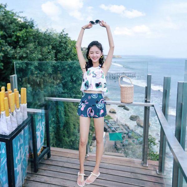 泳衣女三件套韓國泡溫泉泳裝小胸聚攏保守遮肚顯瘦性感游泳衣分體