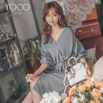 東京著衣【YOCO】甜氛女伶泡泡袖綴蝴蝶結綁帶洋裝-S.M.L(181488)