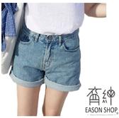 EASON SHOP(GW2509)韓版水洗丹寧藍色褲腳捲邊多口袋收腰牛仔褲女高腰短褲直筒寬褲五分褲熱褲休閒褲