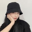 純色簡約鐘形水桶帽女日系遮臉平頂網紅盆帽春夏薄款防曬漁夫帽子一米陽光