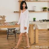 日系睡衣女夏長袖純棉韓版性感全棉春季寬鬆大碼白色睡裙家居服【 【快速出貨】】