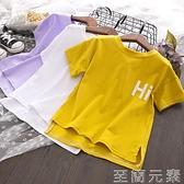 女童夏季新品時尚休閒短袖T恤寬松舒適字母印花上衣4251 至簡元素