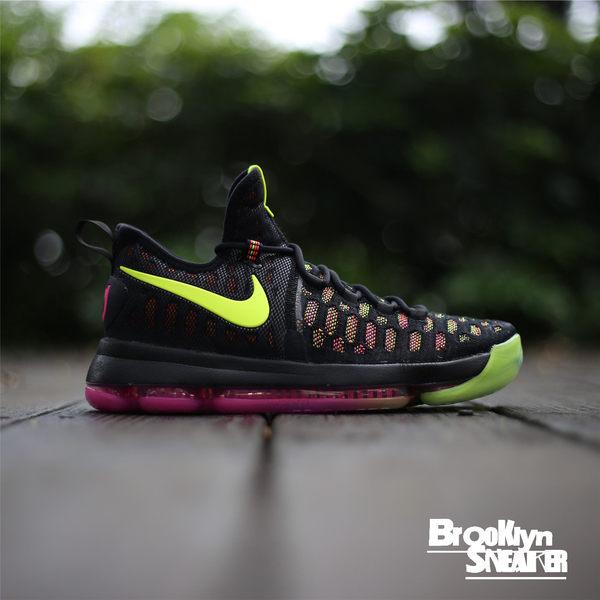 NIKE Zoom KD 9 EP Multi-color 黑綠黃 霓虹 編織 全氣墊 籃球鞋 透氣 (布魯克林) 2016/10月 844382-999