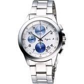 agnes b. 浪漫花漾法式計時腕錶-白/藍圈 7T92-0LY0L(BF8328P1)