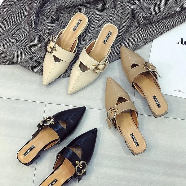 包頭半拖鞋女夏時尚外穿2020年新款涼懶人厚底尖頭中粗跟高跟潮流鞋 yu11971【棉花糖伊人】
