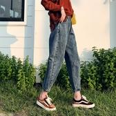 牛仔褲韓琳婭高腰正韓寬鬆牛仔褲女九分初戀學生寬復古港味迷你直筒