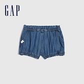 Gap嬰兒 純棉蝴蝶結牛仔短褲 796699-中度水洗