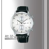 agnes b. 都會風時尚計時腕錶-黑x銀