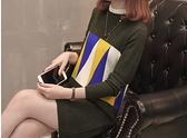 現貨連身裙時尚百搭針織拼接圖案連身裙洋裝27147