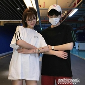情侶T恤情侶裝裝新款韓版寬鬆運動風圓領短袖T恤的qlz上衣 【傑克型男館】