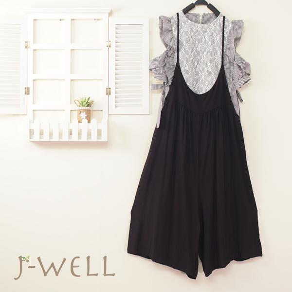J-WELL 條紋蕾絲露肩上衣吊帶褲二件組(組A207 8J1550黑+8J1634黑)