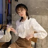 娃娃領上衣 娃娃領襯衫女設計感外穿秋季百搭白色長袖甜美減齡上衣服-Milano米蘭