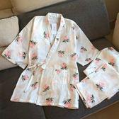 女士純棉睡衣春秋雙層紗布短袖長褲
