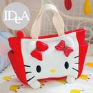 三麗鷗 Hello Kitty方形立體大臉絨毛便當袋手提收納包午餐野餐提袋 學生媽媽包 口袋 裝水杯 凱蒂貓