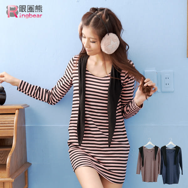 洋裝--俏皮休閒雙口袋橫條紋圓領長上衣/洋裝(粉.藍M-2L)-A110眼圈熊中大尺碼