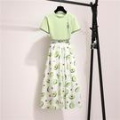 兩件式洋裝 小清新套裝女 夏季牛油果印花...