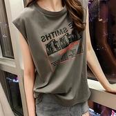 無袖t恤女2021夏季新款韓版chic寬鬆外穿港風背心字母百搭上衣服 【母親節特惠】