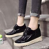 夏季韓版英倫風復古鬆糕底繫帶小皮鞋百搭休息坡跟單鞋子 莫妮卡小屋