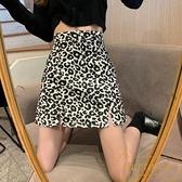 豹紋高腰a字半身裙包臀短裙女時尚夏【繁星小鎮】