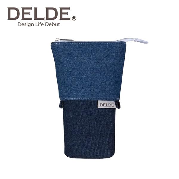 藍色款【日本正版】DELDE 丹寧風系列 細長 伸縮筆袋 筆筒 鉛筆盒 收納包 sun-star - 557489
