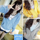 【V0183】shiny藍格子-隨性秋搭.顯瘦百搭長袖薄款連帽外套
