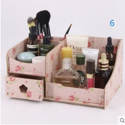 藍格子 桌面 化妝品收納盒 木製 抽屜式化妝品收納盒置物架整理盒