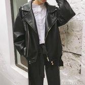 秋裝新款女裝機車翻領啞光PU皮衣寬鬆學生百搭夾克開衫短外套   東川崎町
