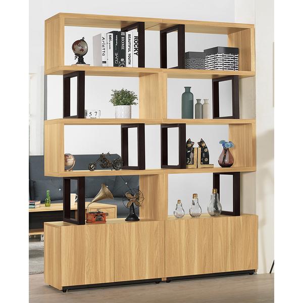 【森可家居】費德勒5.28尺雙面櫃(全組) 8ZX692-2 展示 隔間 客廳收納 開放式書櫃架 木紋質感 北歐風