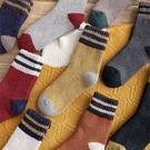 中筒襪-正韓條紋拚色加厚保暖羊毛中筒襪 長襪 羊毛襪【AN SHOP】