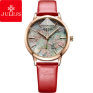 JULIUS 聚利時 星際漫遊層次錶盤設計皮錶帶腕錶-魅力紅/34mm【JA-977C】