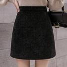 加厚亮晶燈芯絨半身裙女高腰顯瘦A字短裙2021年黑色包臀裙子 快速出貨