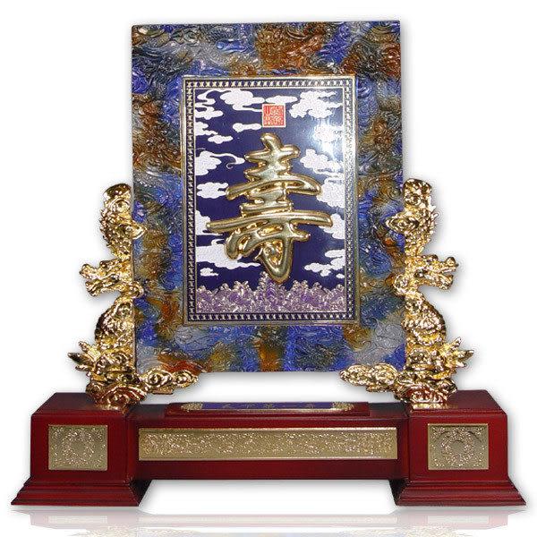 鹿港窯-居家開運水晶琉璃【天下第一壽】 擺飾◆附精美包裝◆免運費送到家