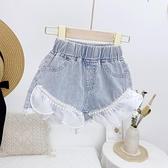 女童牛仔短褲 正韓女童熱褲薄款夏季新款時尚珍珠花邊甜美牛仔短褲休閒褲潮-Ballet朵朵